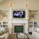 Fireplace Under TV Rack For Scandinavian Small Living Room