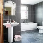 grey bathroom ideas with tub